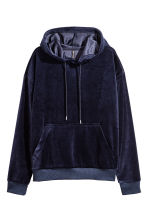 Velour hooded top - Dark blue - Ladies | H&M CN 2